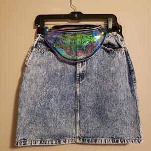 Vintage denim skirt & fanny pack